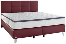 BOXSPRINGBETT 180/200 cm  in Bordeaux  - Chromfarben/Bordeaux, KONVENTIONELL, Leder/Holzwerkstoff (180/200cm) - Novel