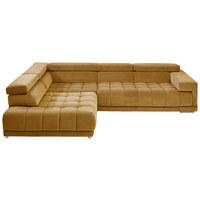 WOHNLANDSCHAFT in Textil Gelb - Chromfarben/Gelb, Design, Textil/Metall (222/323cm) - Beldomo Style