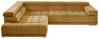 WOHNLANDSCHAFT in Gelb Textil - Chromfarben/Gelb, Design, Textil/Metall (222/323cm) - BELDOMO STYLE