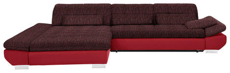WOHNLANDSCHAFT in Textil Rot - Chromfarben/Rot, Design, Kunststoff/Textil (204/341cm) - Xora