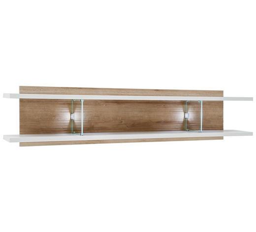WANDBOARD in 150/35/24 cm Weiß, Eichefarben - Eichefarben/Weiß, Design, Glas/Holzwerkstoff (150/35/24cm) - Novel