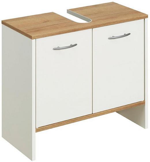 WASCHBECKENUNTERSCHRANK Eichefarben, Weiß - Eichefarben/Alufarben, Design, Holzwerkstoff/Kunststoff (62/54/28cm) - Carryhome