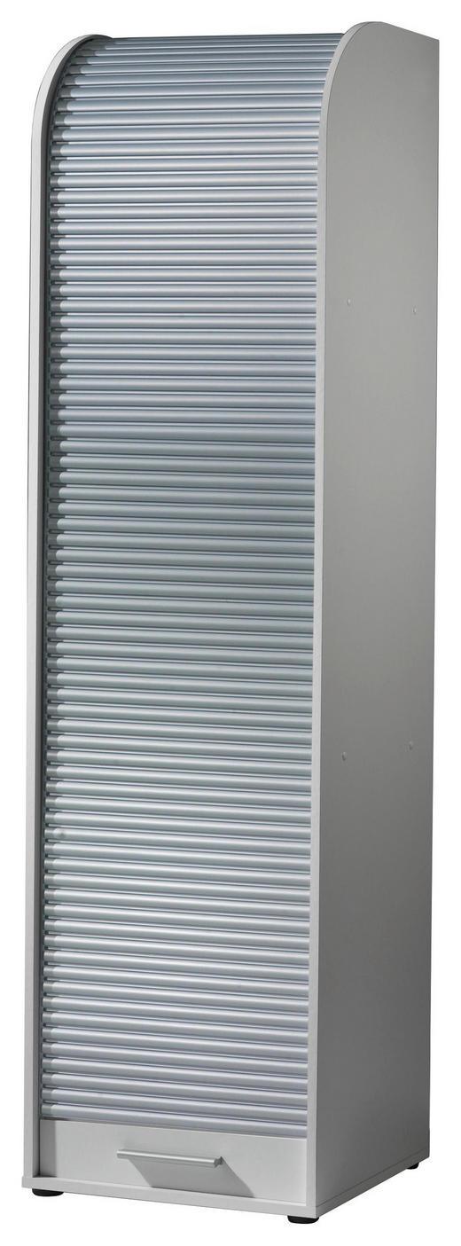 ROLLOSCHRANK Silberfarben - Silberfarben/Schwarz, Design, Holzwerkstoff/Kunststoff (45/164/40cm) - Carryhome