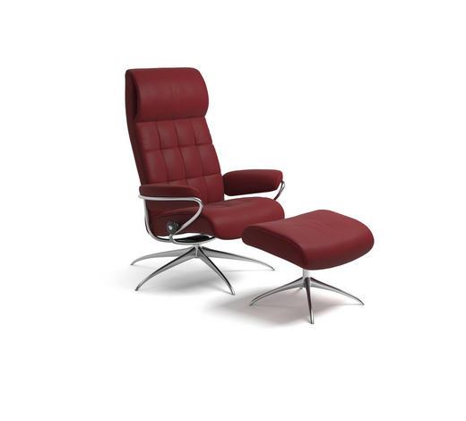 SESSELSET LONDON M Echtleder Hocker    - Weinrot, Design, Leder/Metall (80/115/74cm) - Stressless
