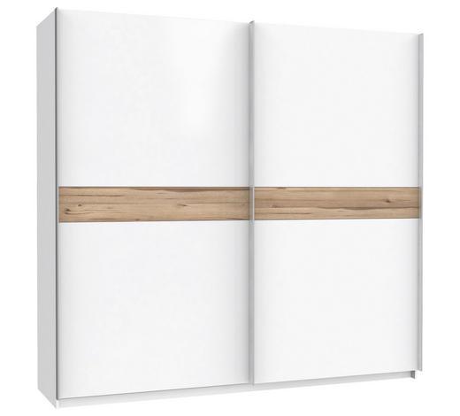 SCHWEBETÜRENSCHRANK 2-türig Weiß, Eichefarben  - Eichefarben/Alufarben, KONVENTIONELL, Holzwerkstoff/Metall (170,3/210,5/61,2cm) - Xora