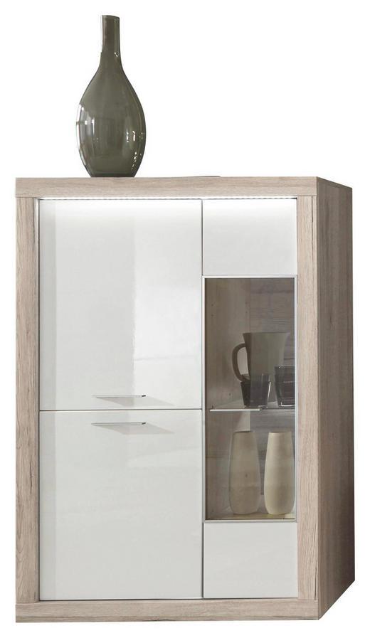 HIGHBOARD Eiche Hochglanz, tiefgezogen Eichefarben, Weiß - Chromfarben/Eichefarben, Design, Metall (90/134,4/41,2cm) - Xora