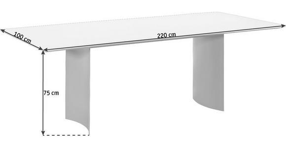 ESSTISCH in Metall, Glas 220/100/75 cm   - Dunkelgrau/Weiß, Design, Glas/Metall (220/100/75cm) - Dieter Knoll