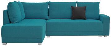 WOHNLANDSCHAFT in Textil Türkis - Türkis/Silberfarben, Design, Kunststoff/Textil (207/243cm) - Xora