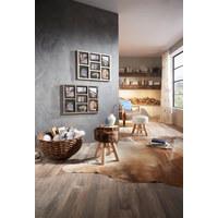 HOCKER - Naturfarben/Weiß, Trend, Holz/Textil (28/42cm) - Ambia Home