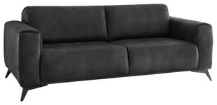 DREISITZER-SOFA Anthrazit  - Anthrazit/Schwarz, KONVENTIONELL, Textil/Metall (215/82/96cm) - Novel