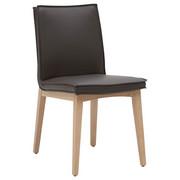 Stuhl in Holz, Leder Dunkelgrau, Eichefarben - Dunkelgrau/Eichefarben, Natur, Leder/Holz (48/86/60cm) - Voglauer