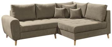 WOHNLANDSCHAFT in Textil, Holzwerkstoff Sandfarben  - Sandfarben/Kieferfarben, KONVENTIONELL, Holzwerkstoff/Kunststoff (249/175cm) - Carryhome