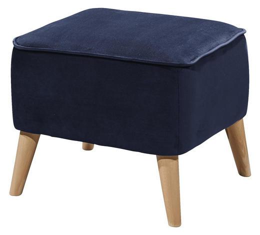 HOCKER in Textil, Holzwerkstoff Blau - Blau/Kieferfarben, Trend, Holz/Holzwerkstoff (47/36/47cm) - Carryhome