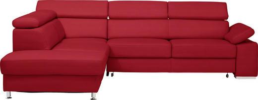 WOHNLANDSCHAFT in Leder Rot, Weinrot - Rot/Weinrot, Design, Leder/Metall (226/275cm) - Beldomo Premium