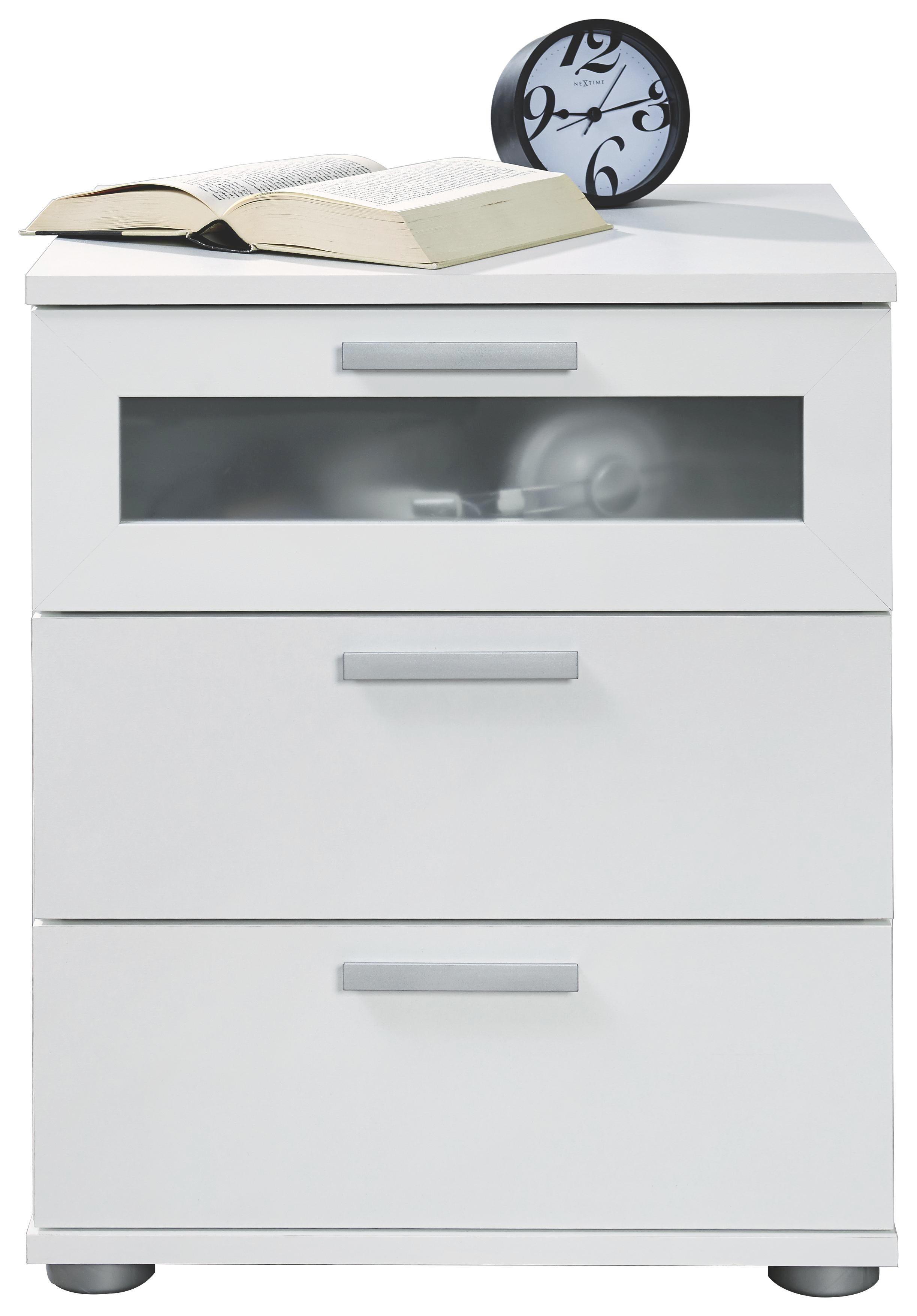 NACHTKÄSTCHEN Melamin Weiß - Silberfarben/Weiß, Design, Kunststoff (45/53,5/38cm) - CARRYHOME
