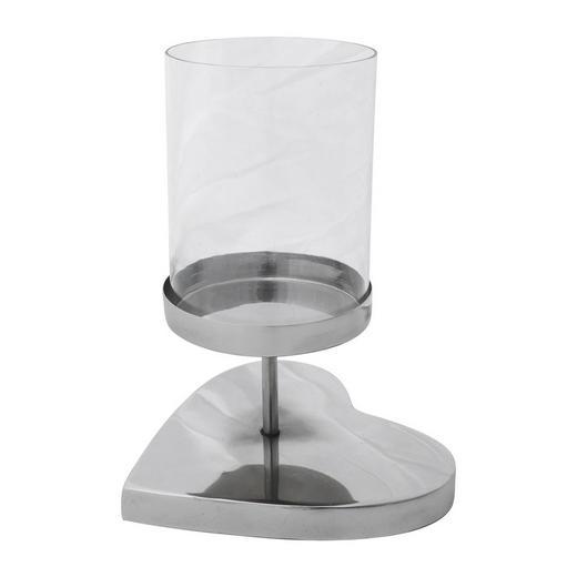WINDLICHT - Silberfarben, Trend, Glas/Metall (13/13/20cm)