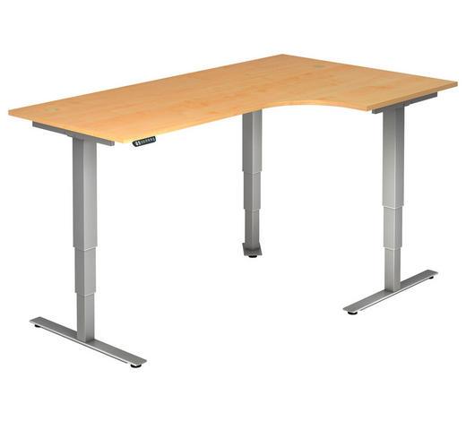SCHREIBTISCH - Silberfarben/Ahornfarben, KONVENTIONELL, Holzwerkstoff/Metall (200/63,5-128,5/120cm)