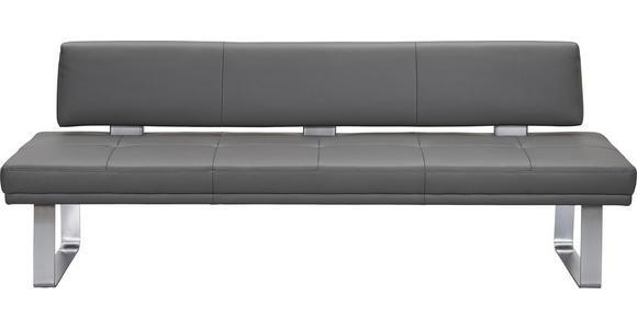 SITZBANK  in Grau, Edelstahlfarben  - Edelstahlfarben/Grau, Design, Leder/Metall (239cm) - Dieter Knoll