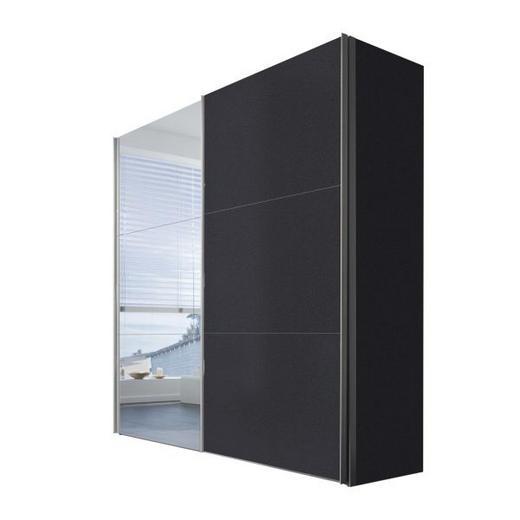 SCHWEBETÜRENSCHRANK 2-türig Graphitfarben - Graphitfarben/Alufarben, KONVENTIONELL, Glas/Holzwerkstoff (200/216/68cm) - Hom`in