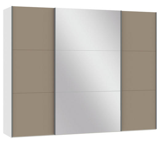 SCHWEBETÜRENSCHRANK 3-türig Weiß, Hellbraun  - Hellbraun/Silberfarben, Design, Glas/Holzwerkstoff (278/220/65cm) - Jutzler