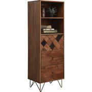 KOMODA, dřevo, kov, akácie, masivní, barvy akácie, bronzová - bronzová/barvy mosazi, Trend, kov/dřevo (50/153/43cm) - Ambia Home