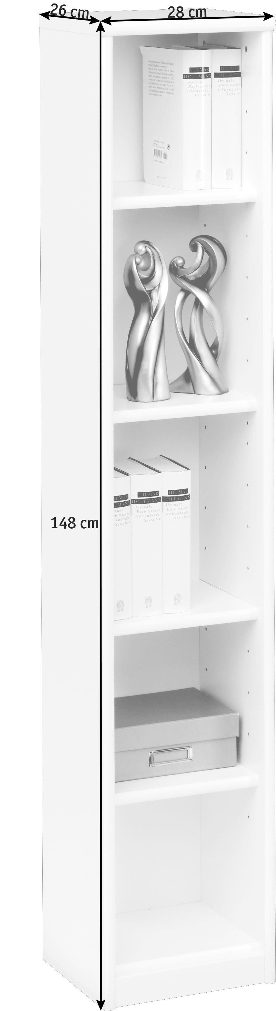 REGAL in Weiß - Weiß, KONVENTIONELL, Holzwerkstoff (28/148/26cm) - CS SCHMAL