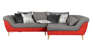 WOHNLANDSCHAFT in Textil Grau, Orange  - Orange/Naturfarben, Design, Holz/Textil (313/175cm) - Carryhome