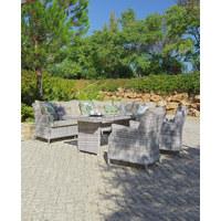 DINING-LOUNGESET 19-teilig  264/174 cm - Sandfarben/Klar, Design, Glas/Kunststoff (264/174cm) - Ambia Garden