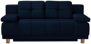BOXSPRINGSOFA in Textil Blau  - Chromfarben/Blau, MODERN, Textil/Metall (202/92/104cm) - Novel