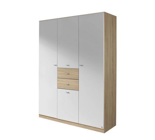 KLEIDERSCHRANK 4-türig Weiß, Sonoma Eiche - Silberfarben/Weiß, Basics, Holzwerkstoff/Kunststoff (136/197/54cm) - Carryhome