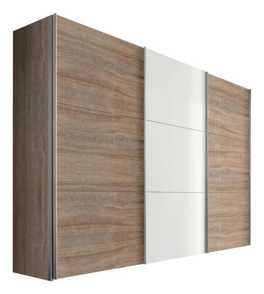 SCHWEBETÜRENSCHRANK 3-türig Sonoma Eiche, Weiß - Alufarben/Weiß, KONVENTIONELL, Holzwerkstoff/Metall (300/216/68cm) - Hom`in