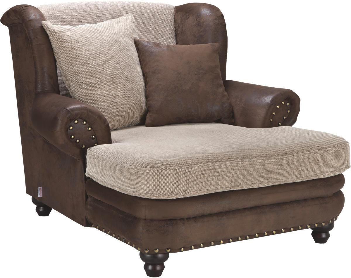 FÅTÖLJ - beige/brun, Lifestyle, trä/textil (125/100/140cm) - LANDSCAPE