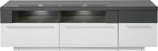 LOWBOARD - Silberfarben/Graphitfarben, Design, Glas/Holzwerkstoff (199/57/51cm) - Stylife