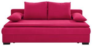 SCHLAFSOFA Velours Rot - Rot/Schwarz, KONVENTIONELL, Kunststoff/Textil (207/74-94/90cm) - Venda