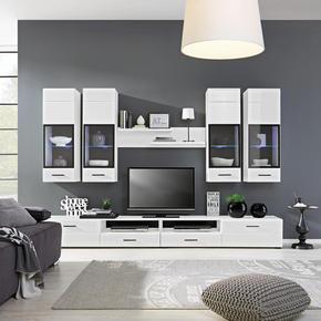 HYLLKOMBINATION - vit/svart, Modern, glas/trä (280/195/45cm) - Based