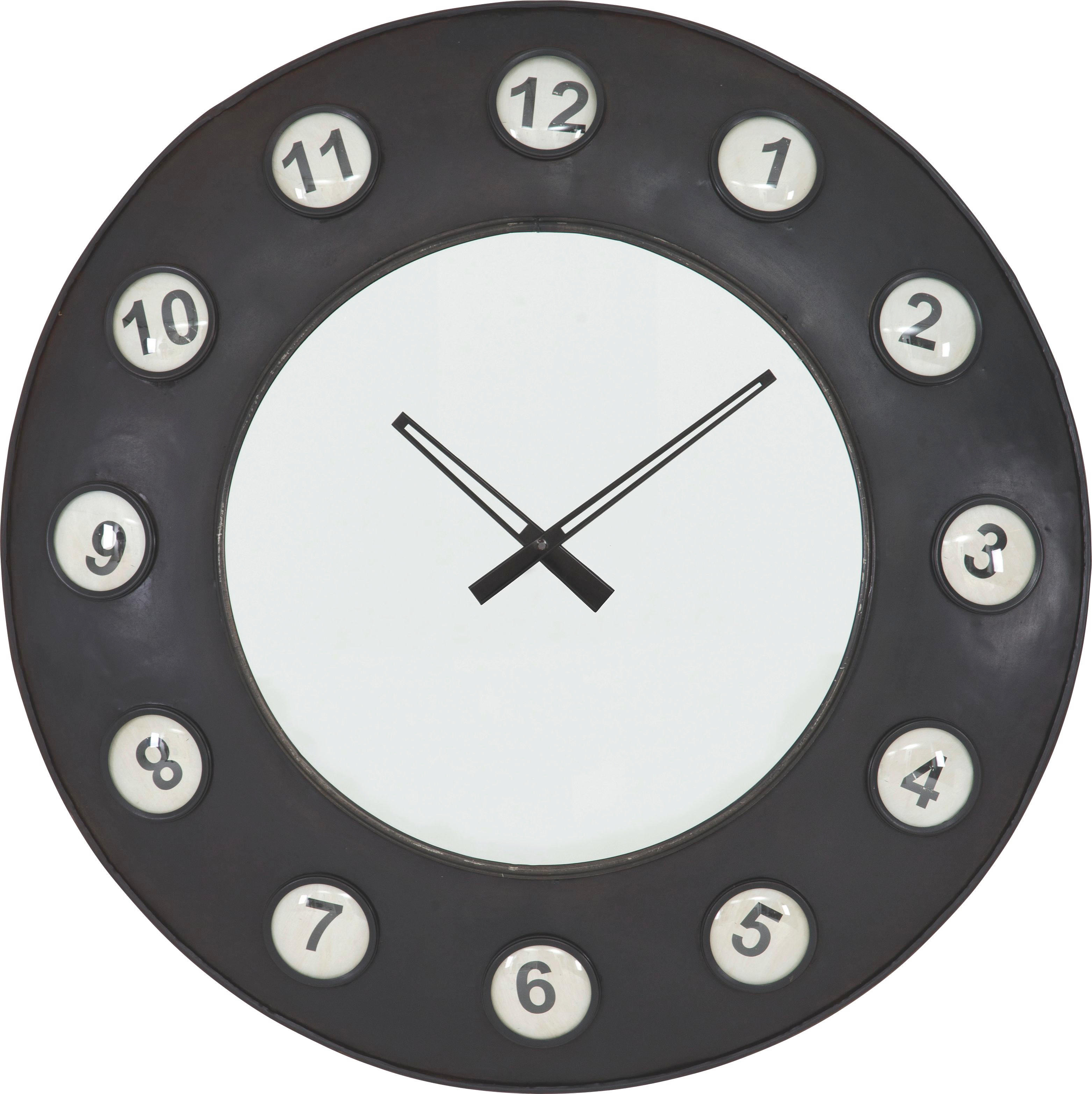 ZIDNI SAT - crna, Design, staklo/metal (77cm) - LANDSCAPE