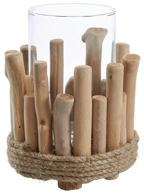 LJUSLYKTA - klar/naturfärgad, Natur, glas/träbaserade material (14,5/18cm) - Ambia Home