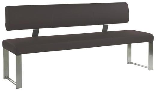 SITZBANK Lederlook Braun, Edelstahlfarben - Edelstahlfarben/Beige, Design, Textil/Metall (160/85/60cm) - Dieter Knoll