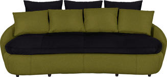 MEGASOFA in Grün, Schwarz Textil - Schwarz/Grün, Design, Kunststoff/Textil (238/80/143cm) - Hom`in