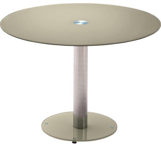 ESSTISCH in Metall, Glas  100/77 cm - Taupe/Chromfarben, Design, Glas/Metall (100/77cm) - Carryhome