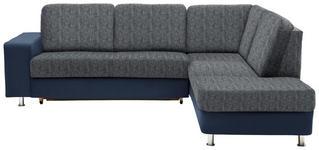 WOHNLANDSCHAFT in Textil Blau, Grau - Chromfarben/Blau, KONVENTIONELL, Kunststoff/Textil (253/198cm) - Xora
