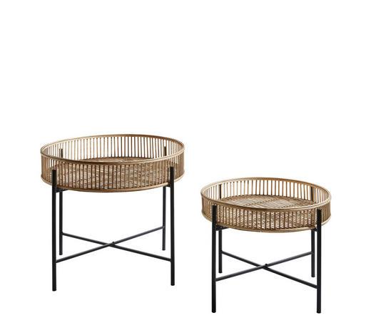 BEISTELLTISCHSET Bambus rund Braun, Schwarz  - Schwarz/Braun, Basics, Holz/Metall (60/49cm)