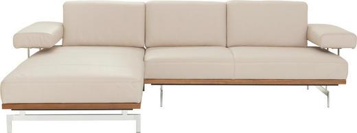 WOHNLANDSCHAFT in Leder Creme - Creme/Alufarben, Design, Leder/Metall (237/295cm) - Joop!
