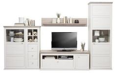 WOHNWAND Grau, Weiß - Weiß/Grau, Design, Glas/Holzwerkstoff (329,4/209,2/50cm) - Hom`in