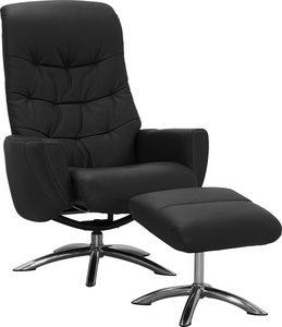 FÅTÖLJ OCH PALL - kromfärg/svart, Klassisk, metall/trä (75/108/88cm) - Low Price