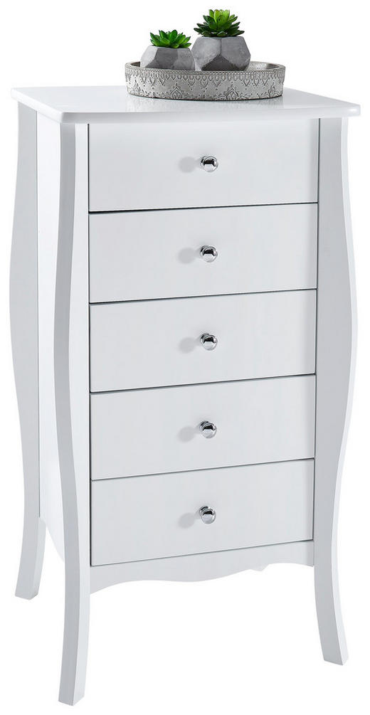 KOMMODE Weiß - Alufarben/Weiß, LIFESTYLE, Kunststoff/Metall (45/85/40cm) - Carryhome
