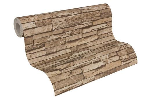 Vliestapete in steinopktik 10,05 m - Hellbraun/Beige, LIFESTYLE, Textil (53/1005cm)
