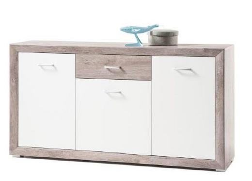 SIDEBOARD Silbereichenfarben, Weiß - Silberfarben/Weiß, LIFESTYLE, Holzwerkstoff/Kunststoff (150/87/40cm)
