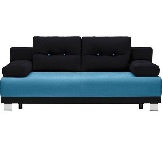 SCHLAFSOFA in Textil Schwarz, Türkis  - Türkis/Alufarben, Design, Kunststoff/Textil (200/84/94cm) - Carryhome