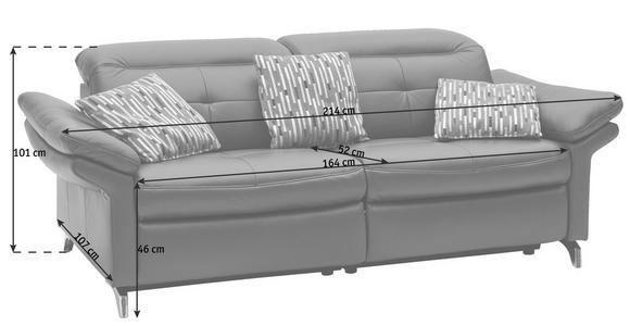 SOFA Echtleder Weinrot  - Chromfarben/Weinrot, Design, Leder/Metall (214/101/107cm) - Dieter Knoll